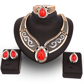 European Style Red Water Droplets Pendant Jewelry Set