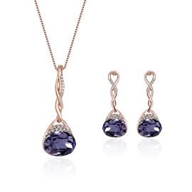Purple Oval Cut Rhinestone Pendant Jewelry Sets