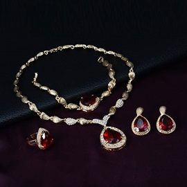 Ruby Shaped Water Drop Stone Metal Shell Chain Jewelry Sets