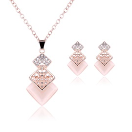 Pink Geometric Hollow Out Diamante Two Piece Jewelry Sets