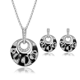 Annulus Rhinestone Semicircle Irregular Pendant Necklace Earrings Jewelry Sets