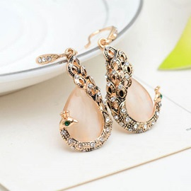 Peacock Shaped Diamond Smooth Stone Alloy Delicate Sweet Earrings Necklace Jewelry Sets