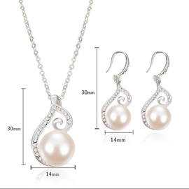 Arc-Shaped Rhinestone Pearl Inlaid Bright Necklaces Earrings Jewelry Sets