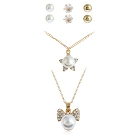 Simple Full Drill Pearl Inlaid Alloy Jewelry Sets