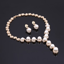 Twisty Inverse S Shaped Pearl Inlaid Rhinestone Pendant Sweet Jewelry Sets