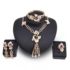Floral Hollow Out Tassel Zircon Bule Stone Double Jack Chain Design Romantic Jewelry Sets
