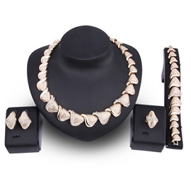 Shells Shaped Chain Golden Diamante Alloy Round Simple Jewelry Sets