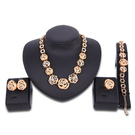 Full Annulus & Flowers Diamante Rose Golden Charming Party Jewelry Sets