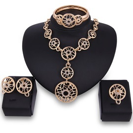 Circles Pendant Hollow Out Rhinestone Alloy Earrings Necklaces Ethnic Jewelry Sets