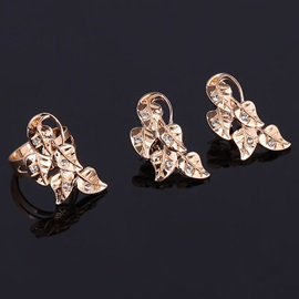 Leaves Sheet V Shaped Alloy Shinning Stone Anniversary Jewelry Sets