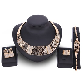 Irregular Hollow Bamboo Chain Full Drill Slice Shaped Alloy Vintage Jewelry Sets