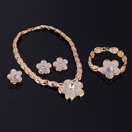Flower Shaped Full Drill Shinning Buds Chain Sweet Jewelry Sets