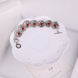 Silver Alloy Fish Shaped Pendant Red Stone Balls Ethnic Two-Piece Jewelry Sets