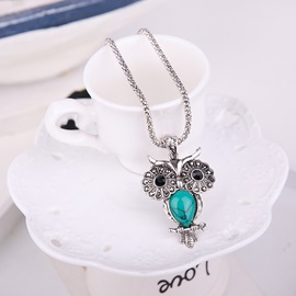 Big Eyes Owl Turquoise Metal Chain Vintage Lovely Jewelry Sets