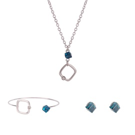 Sapphire Shaped Stone Square Hollow Out Alloy Diamante Link Chain Two-Piece Jewelry Sets