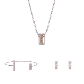 Rectangle Hollow Out Diamante E-Plating Jack Chain Simple European Three-Piece Jewelry Sets