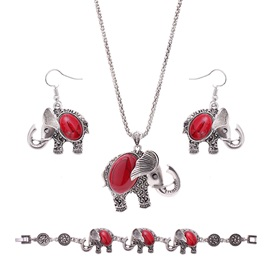 Elephant Shaped Red Stone E-Plating Alloy Beads Chain Jewelry Sets
