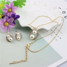 Double Pearls Hollowed Diamante Necklaces Earrings Two-Piece Sets