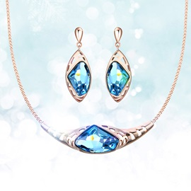 Royal Blue Crystal Stone Alloy Jewelry Sets