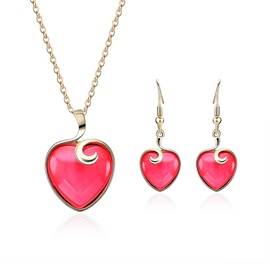 Heart Shape Alloy Necklace Earrings Jewelry Sets