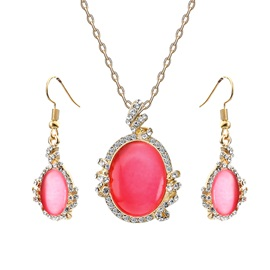Oval Shape Rhinestone Decorated Two-Piece Jewelry Sets
