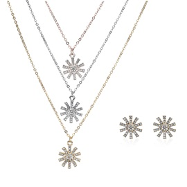 Imitation Diamond Inlaid Multi-layer Pendent Necklace Earrings Jewelry Sets