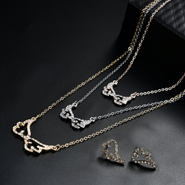 Angel Wings Shape Lobster-Claw Clasp Zircon Necklace Earrings Jewelry Sets