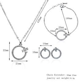 Long Silver Plated Circle Shape Three-Piece Jewelry Sets