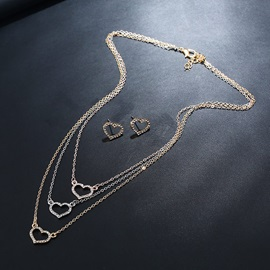 Hollow Out Heart Imitation Diamante Multi Layer Jewelry Sets