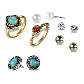 Alloy Imitation Turquoise Diamante Earrings&Rings Jewelry Sets