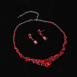 All Match Ruby Water Drop Shaped Stone Two-Piece Wedding Jewelry Sets