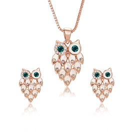 Owl Pattern Stone Inlaid Pendent Necklace Earrings Jewelry Sets