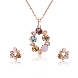 Candy Color Round Pattern Pendant Necklace Earrings Jewelry Sets