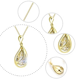 Golden Water Drop Oval Cut E-plating Two-Piece Jewelry Sets