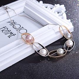 Hollow Oval Shape Beads Alloy Two-Piece Jewelry Sets