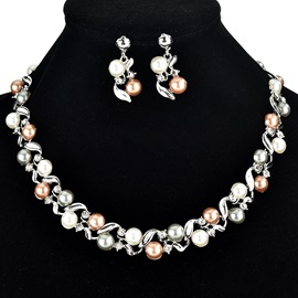 European Leaf Shape Pearl Decorated Party Jewelry Sets