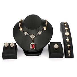 Square Ruby Pendant Rhinestone 4-Pcs Wedding Jewelry Sets