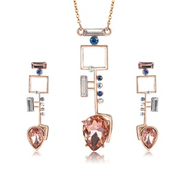 Irregular Key Shape Gem Earrings Necklace Jewelry Set