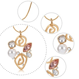 Hollow Floral Shape with Rhinestone 2 Pcs Pearl Jewelry Set