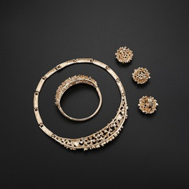 Exaggerated Style Floral Shape 4 Piece Alloy Jewelry Set