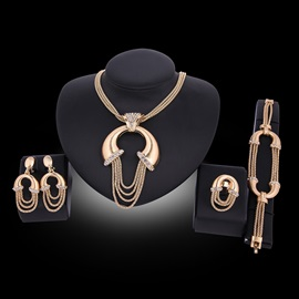 Exaggerated Style Golden Tassel 4-Piece Jewelry Set