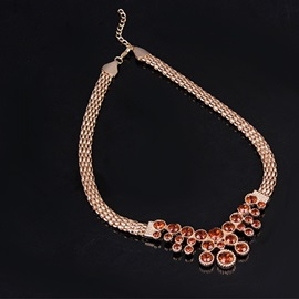 Rose Gold Floral Shape 4-Piece Prom Jewelry Set