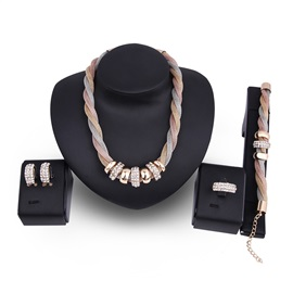 Hot Sale Rhinestone Gold-Plated Alloy 4-Piece Party Jewelry Set