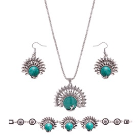 Retro Peacock Design Turquoise 3 Piece Jewelry Set
