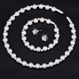 Romantic 8MM Handmade Pearl 3 Piece Wedding Jewelry Set
