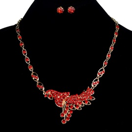 Hot Sale Red Rhinestone Earrings Necklace Jewelry Set