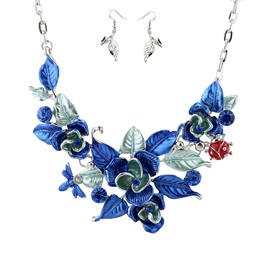 Colored Floral Shape E-plating Earrings Necklace Jewelry Sets