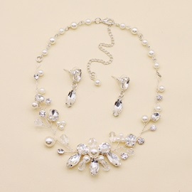 Handmade Pearl Decorated Earrings Necklace Jewelry Sets