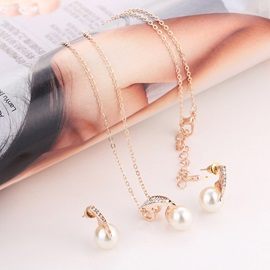 Sweet Pearl Decorated Diamante 2 Piece Party Jewelry Sets