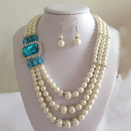 Pearl Crystal Inlaid Style Jewelry Set